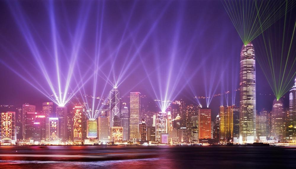 Лазерное шоу в Гонконге